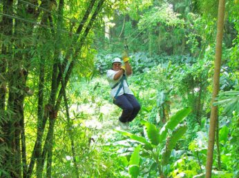 Michele swinging across the jungle!